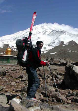 Karel Torac near the Shelter I, Mt. Damavand in the background.